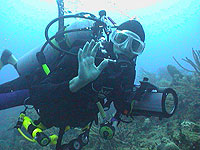 Scuba Diver at the end of the dive - photo by Pepe Scuba - Maya Expeditions